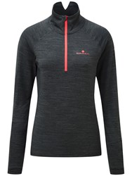 Ronhill Stride Thermal Long Sleeve Half Zip T Shirt Grey Pink