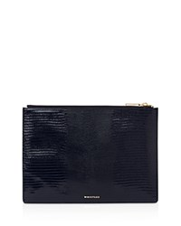 Whistles Lizard Stamped Leather Clutch Navy Gold