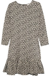 The Great Drop Ruffled Floral Print Cotton Dress Cream