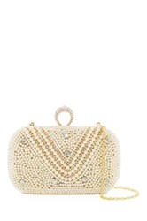 Cara Accessories Faux Pearl And Rhinestone Detail Clutch White