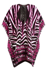 Emilio Pucci Wool And Mohair Cape With Leather Multicolor