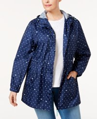 Charter Club Plus Size Printed Packable Anorak Only At Macy's Intrepid Blue Combo