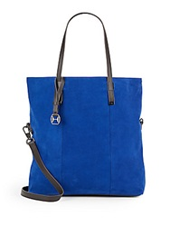 Halston Suede And Leather Tote Cobalt Black