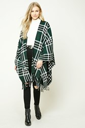 Forever 21 Fringed Plaid Shawl Green Black