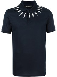 Neil Barrett Lightning Bolt Polo Shirt Blue