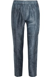 Donna Karan Cropped Slub Ramie And Silk Blend Tapered Pants Blue