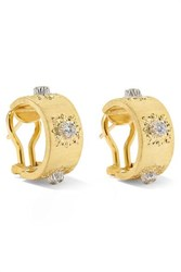 Buccellati Macri Classica 18 Karat Gold Diamond Hoop Earrings One Size