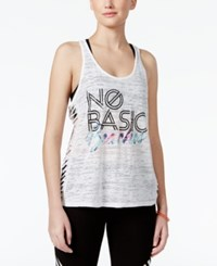 Material Girl Active Juniors' Racerback Cutout Graphic Tank Top Only At Macy's Bright White