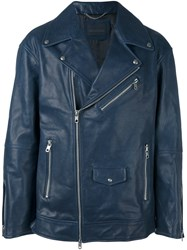 Diesel Black Gold Flap Pocket Biker Jacket Blue