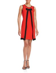 Cece Inverted Pleat Colorblock Shift Dress Red