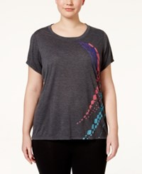 Ideology Plus Size Graphic Burnout T Shirt Only At Macy's Charcoal Heather