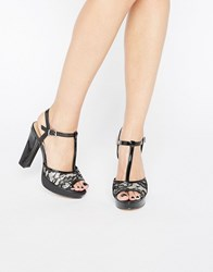 Head Over Heels By Dune Mada Lace T Bar Platform Heeled Sandals Black Fabric