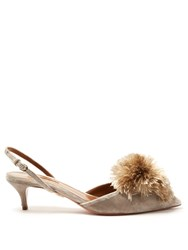 Aquazzura Powder Puff Kitten Heel Velvet Pumps Light Grey
