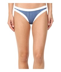 Seafolly Block Party Hipster Bottoms Denim Women's Swimwear Blue