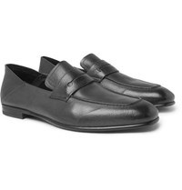 Ermenegildo Zegna Asola Collapsible Heel Leather Penny Loafers Dark Gray