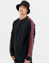 Another Influence Crew Neck Geo Arm Print Sweat Black