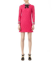 Gucci 3 4 Sleeve Embroidered Cluny Lace Dress Pink