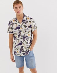 Selected Homme Revere Collar Viscose Shirt With All Over Print Navy
