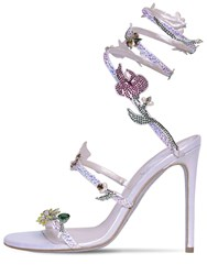 Rene Caovilla 105Mm Satin And Crystal Sandals Silver