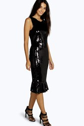 Boohoo All Over Sequin Peplum Midi Dress Black