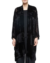 Eskandar Embroidered Devore Velvet Open Jacket Black