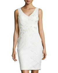 Sue Wong Embroidered Ruched Cocktail Dress Ivory