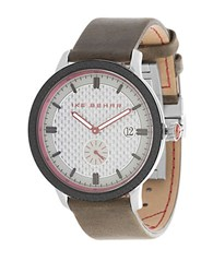 Ike Behar Leather Strap Analog Watch Brown