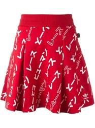 Adidas 'Hu Race' Patterned Skirt Red