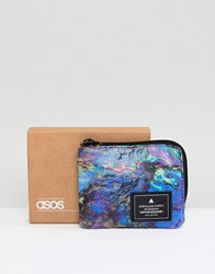 Asos Zip Around Wallet In Multi Color Oil Print Multi