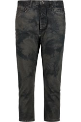 Rick Owens Cropped Printed High Rise Slim Leg Jeans Gray
