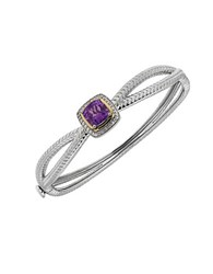 Lord And Taylor Amethyst White Topaz Sterling Silver 14K Yellow Gold Bangle
