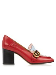 Gucci Peyton Texas Heart Leather Pumps Red Multi