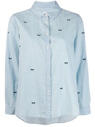 The Great Great. Bow Embroidered Denim Shirt Blue