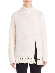 Proenza Schouler Front Slit Wool And Cotton Fringe Turtleneck Sweater Off White
