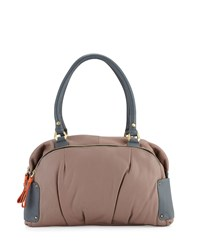 Tina Two Tone Leather Satchel Bag Mushroom Multi Mushroom Mutli Oryany