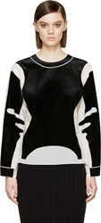 Viktor And Rolf Ivory Crepe De Chine Black Velvet Crewneck