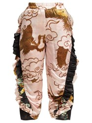 By Walid Sissy Antique Silk Trousers Pink Multi