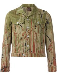 Jean Paul Gaultier Vintage Printed Denim Jacket Green