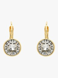 Monet Round Crystal Drop Hook Earrings Gold Clear