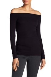 Bailey 44 Off The Shoulder Ribbed Shirt Black