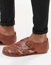 Asos Fisherman Sandals In Tan Leather Tan