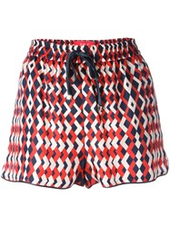 F.R.S For Restless Sleepers Geometric Print Shorts Red