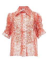 Thierry Colson Tilda Printed Cotton Blend Blouse Red
