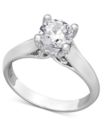 X3 Certified Diamond Solitaire Engagement Ring In 18K White Gold 1 1 4 Ct. T.W.