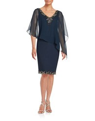 J Kara Bead Trimmed Popover Dress Navy Mercury