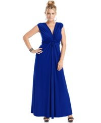 Love Squared Plus Size Sleeveless Knotted Maxi Dress Royal Blue