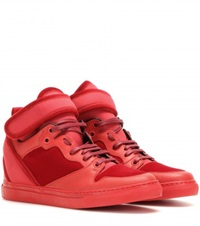 Balenciaga Leather And Velvet High Top Sneakers Red