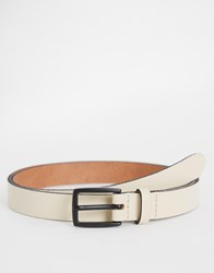 Asos Leather Skinny Belt With Black Coated Buckle White