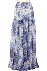 Giambattista Valli Printed Silk Chiffon Maxi Skirt Blue