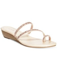 Styleandco. Style And Co. Hayleigh Wedge Sandals Only At Macy's Women's Shoes Natural Rhinestone
